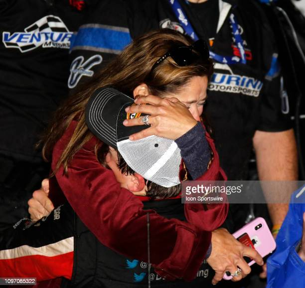 Kim Burton reacts to her son Harrison Burton in victory lane after the Lucas Oil 200 on February 9 2019 at Daytona International Speedway in Daytona...
