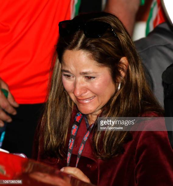 Kim Burtonthe mother of Harrison Burton waits in victory lanr during the running of the Lucas Oil 200 on February 9 2019 at Daytona International...