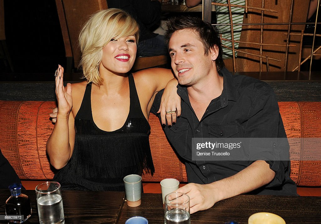 Kim Caldwell and Brett Claywell attend Yellowtail restaurant at the Bellagio Hotel and Casino Resort on July 4, 2009 in Las Vegas, Nevada.