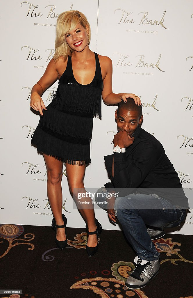 Kim Caldwell and Mehcad Brooks arrive at The Bank at the Bellagio Hotel and Casino Resort on July 4, 2009 in Las Vegas, Nevada.