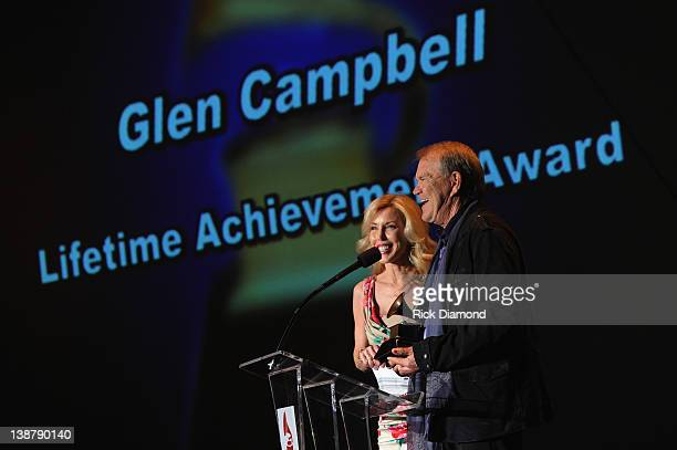 Kim Campbell and Honoree Glen Campbell accept the Lifetime Achievement award during The 54th Annual GRAMMY Awards Special Merit Awards Ceremony And...