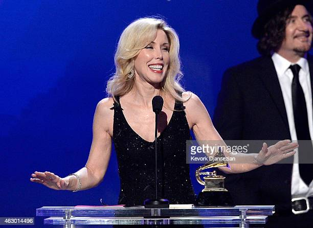 Kim Campbell speaks onstage during the The 57th Annual GRAMMY Awards Premiere Ceremony at Nokia Theatre LA Live on February 8 2015 in Los Angeles...