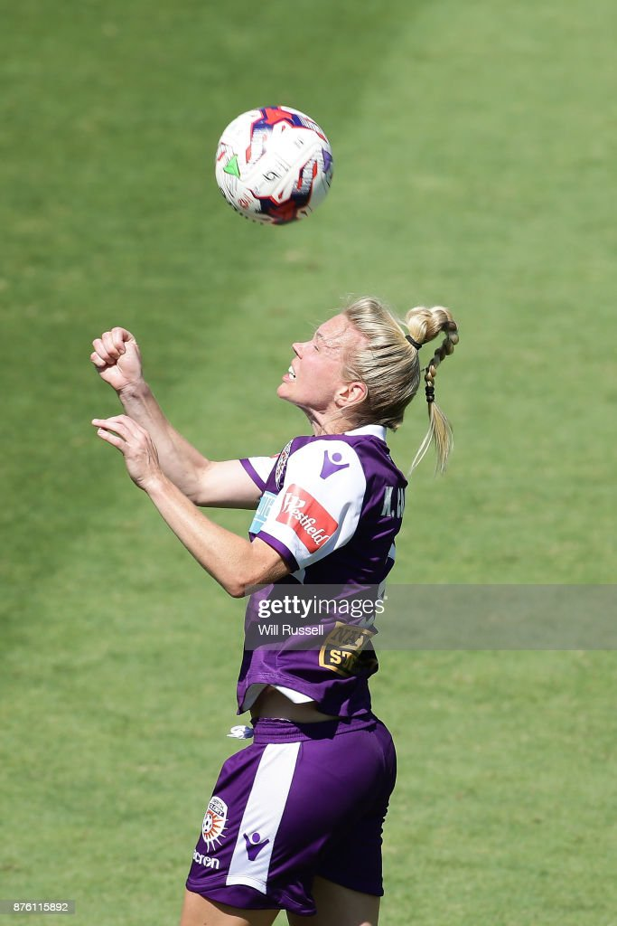 Kim Carroll of the Glory heads the ball during the round four W-League match between Perth Glory and Melbourne Victory at nib Stadium on November 19, 2017 in Perth, Australia.
