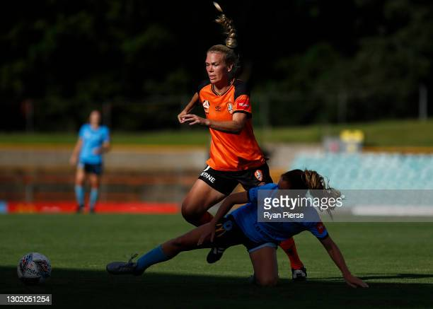 Kim Carroll of the Roar competes for the ball during the round eight W-League match between Sydney FC and the Brisbane Roar at Leichhardt Oval, on...