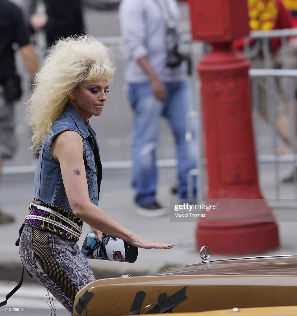 Kim Catrall is seen on the set of the movie'Sex in the City2' on location on the Streets of Manhattan on September 9, 2009 in New York City.