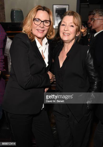 Kim Cattrall and Lesley Manville attend the press night after party for 'Heisenberg The Uncertainty Principle' at Century Club on October 9 2017 in...