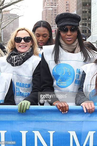 Kim Cattrall and Naomi Campbell attend the 'MARCH IN MARCH' to end violence against women at Dag Hammarskjold Plaza at the United Nations on March 7...