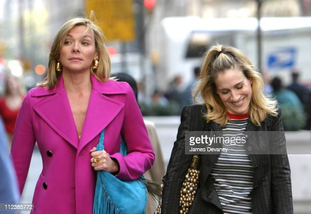 Kim Cattrall and Sarah Jessica Parker during Kim Cattrall and Sarah Jessica Parker On Location For 'Sex And The City' at Saks Fifth Ave in New York...