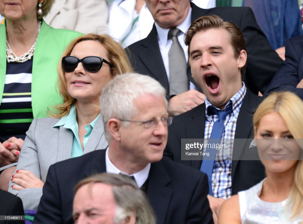 Kim Cattrall and Seth Numrich attend on Day 8 of the Wimbledon Lawn Tennis Championships at the All England Lawn Tennis and Croquet Club at Wimbledon on July 2, 2013 in London, England.