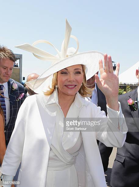 Kim Cattrall attends Crown Oaks Day at Flemington Racecourse on November 8 2012 in Melbourne Australia
