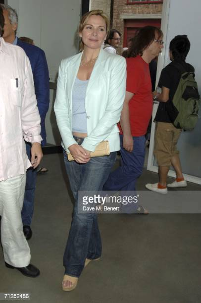 Kim Cattrall attends the Damien Hirst 'A Thousand Years and Triptychs' private view at the Gagosian Gallery on June 20 2006 in London England