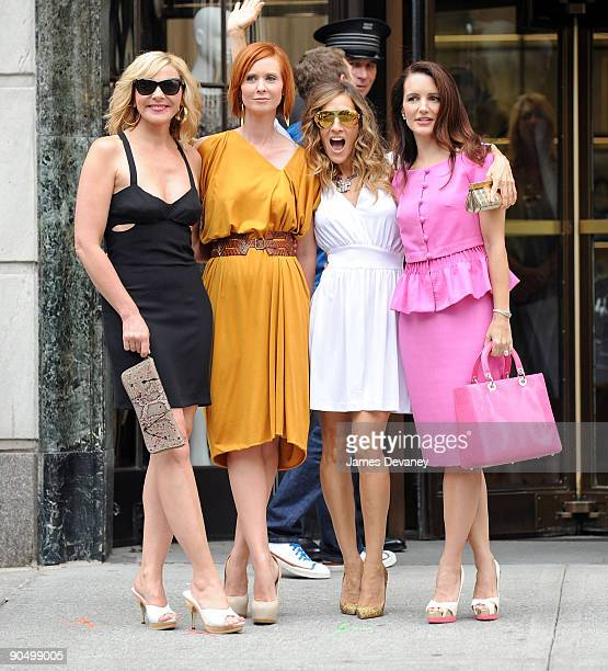 Kim Cattrall Cynthia Nixon Sarah Jessica Parker and Kristin Davis filming on location for 'Sex And The City 2' on the streets of Manhattan on...