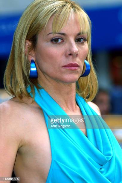 Kim Cattrall during Filming 'Sex and the City' on Madison Ave August 28 2001 at Streets of New York in New York City New York United States