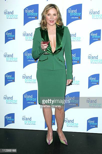 Kim Cattrall during Kim Cattrall Unveils Bacardi's New Half Calorie Island Breeze at Hotel Gansevoort in New York City New York United States