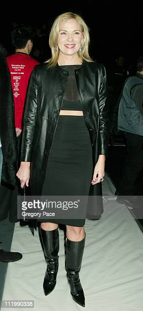 Kim Cattrall during Narciso Rodriguez Fall 2003 Fashion Show at Bryant Park Tents in New York NY United States