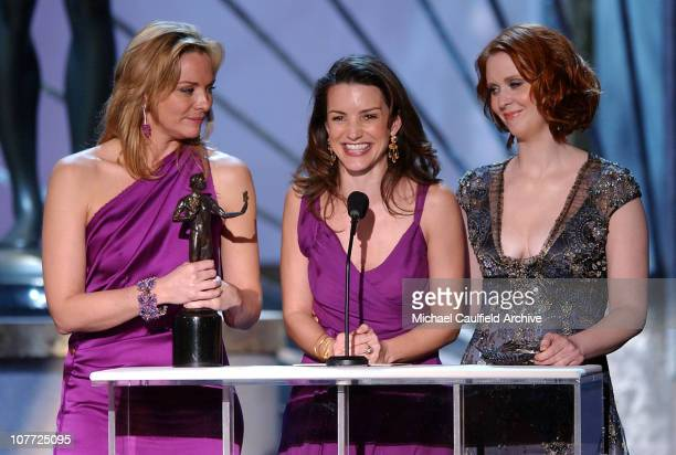 Kim Cattrall Kristin Davis and Cynthia Nixon accept award for Outstanding Ensemble Cast in a Comedy Series Award Sex and the City