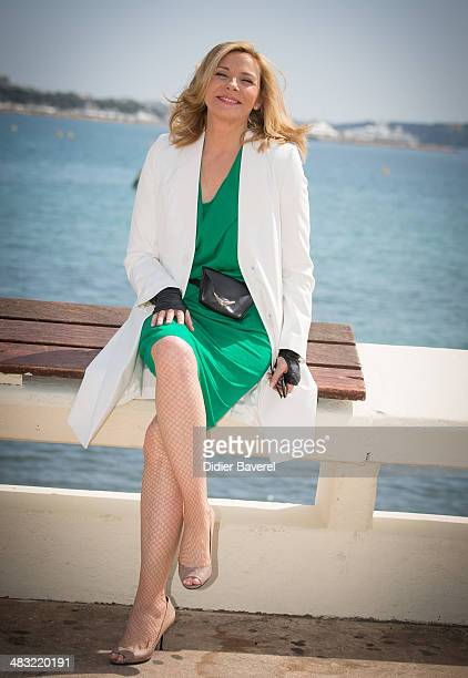 Kim Cattrall poses during the photocall of 'Sensitive Skin' Photocall at MIPTV 2014 at Hotel Majestic on April 7 2014 in Cannes France