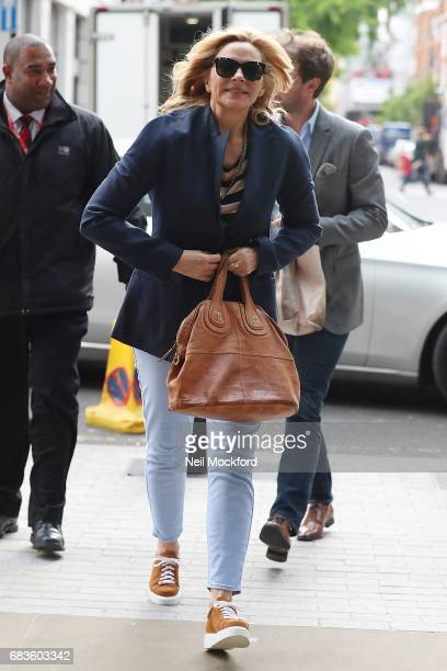 Kim Cattrall seen arriving at BBC Radio Studios on May 16 2017 in London England