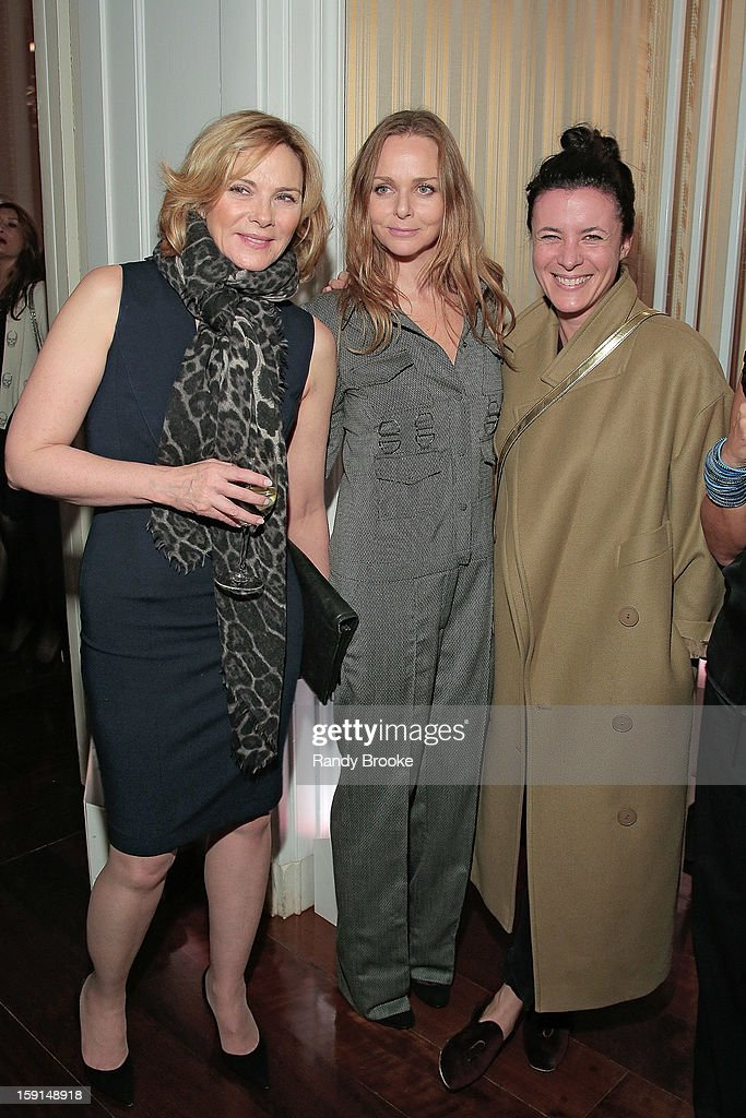 Kim Cattrall, Stella McCartney and guest attend the Stella McCartney Autumn 2013 Presentation at 680 Park Avenue on January 8, 2013 in New York City.
