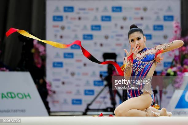 Kim Chaewoon of Korea performs during the 2018 Moscow Rhythmic Gymnastics Grand Prix GAZPROM Cup in Moscow on February 17 2018