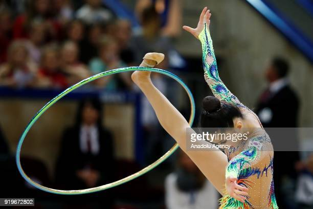 Kim Chaewoon of Korea performs during the 2018 Moscow Rhythmic Gymnastics Grand Prix GAZPROM Cup in Moscow on February 17, 2018.