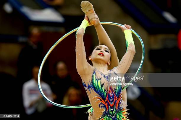 Kim Chaewoon of Korea performs during the 2018 Moscow Rhythmic Gymnastics Grand Prix GAZPROM Cup in Moscow, Russia on February 18, 2018.