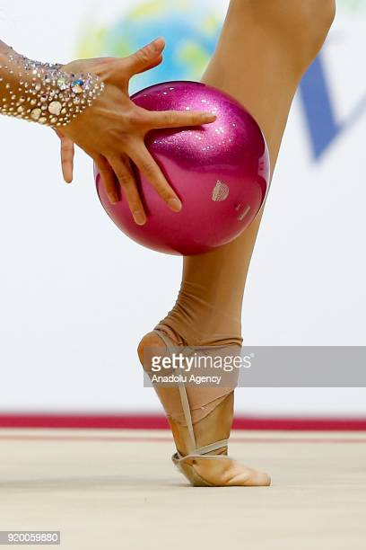 Kim Chaewoon of Korea performs during the 2018 Moscow Rhythmic Gymnastics Grand Prix GAZPROM Cup in Moscow Russia on February 18 2018
