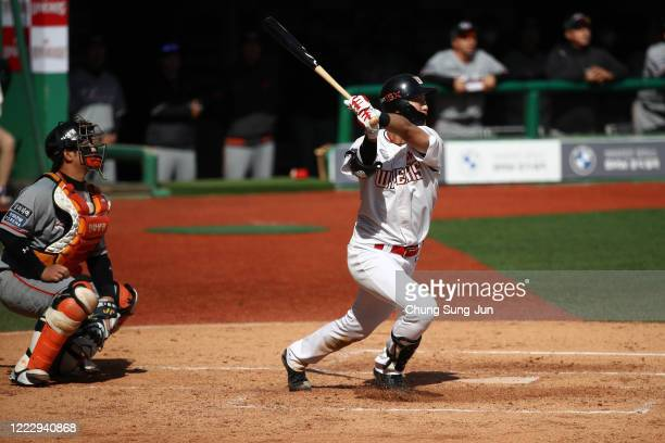 Kim Changpyong of SK Wyvernsbats during the Korean Baseball Organization League opening game between SK Wyverns and Hanwha Eagles at the empty SK...