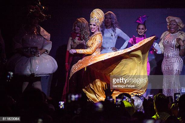 Kim Chi Derrick Barry Robbie Turner Dax ExclamationPoint Cynthia Lee Fontaine and Chi Chi Devayne onstage during Logo's RuPaul's Drag Race Season 8...