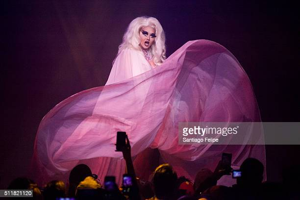 Kim Chi performs onstage during Logo's RuPaul's Drag Race Season 8 Premiere at Stage 48 on February 22 2016 in New York City