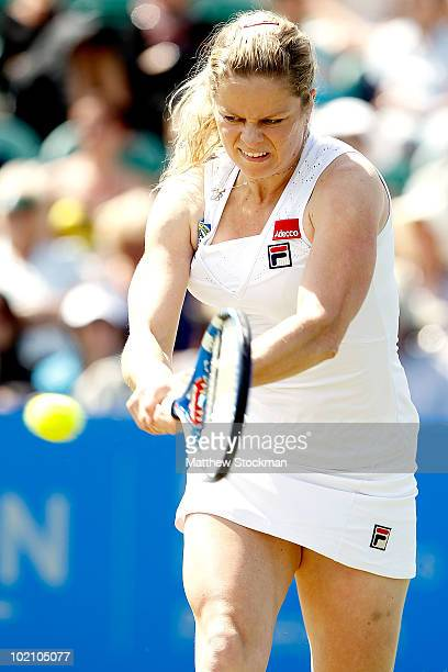 Kim Cijsters of belgium returns a shot to Yanina Wickmayer of Belgium during the AEGON International at Devonshire Park on June 15 2010 in Eastbourne...