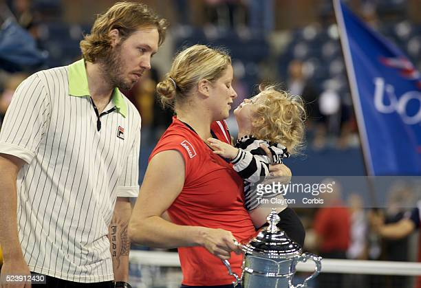 Kim Clijsters Belgium with her daughter Jada and husband Brian Lynch after winning the Women's Singles Final against Caroline Wozniacki Denmark at...