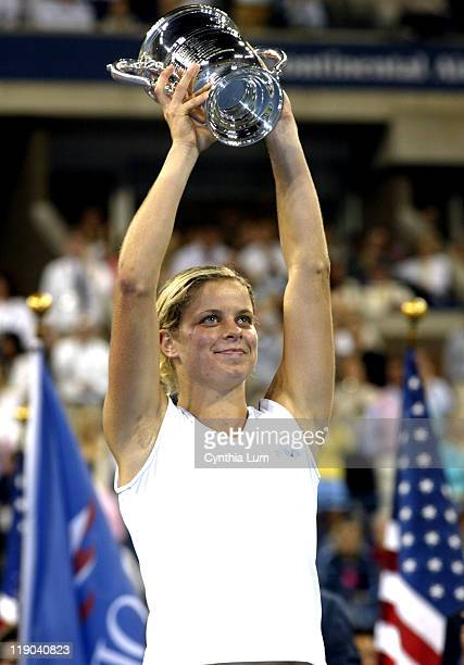 Kim Clijsters claims US Open title defeating Mary Pierce 6-3, 6-1 in the final of the US Open in Flushing, New York on September 10, 2005.