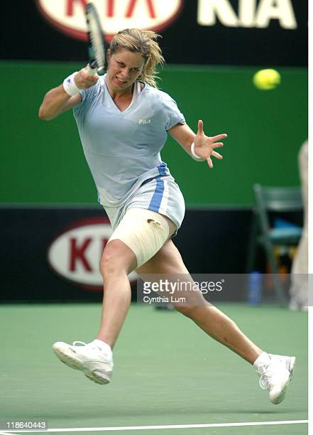 Kim Clijsters during her quarter final win against Martina Hingis in the quarterfinal of the Australian Open Melbourne AustraliaClijsters won 63 26 64