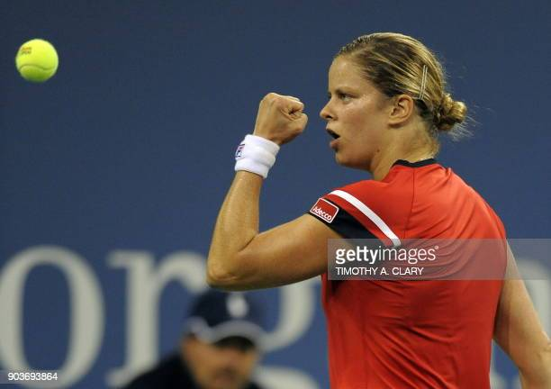 Kim Clijsters from Belgium against Serena Williams of the US during their Women's SemiFinal US Open match at the USTA Billie Jean King National...
