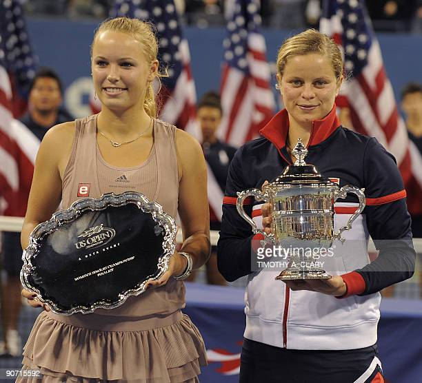 Kim Clijsters from Belgium and Caroline Wozniacki from Denmark at the trophy presentation during the Women's Final US Open match at the USTA Billie...