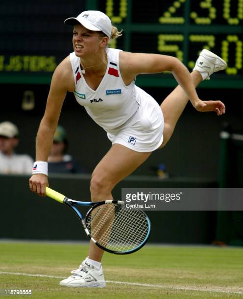 Kim Clijsters in action during her 61 62 victory over American Samantha Reeves