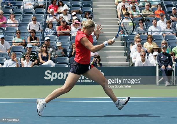 Kim Clijsters in action during her first round 2009 US Open match against Viktoriya Kutuzova in Arthur Ashe Stadium at the USTA Tennis Center in...