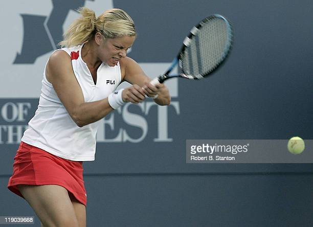 Kim Clijsters in action in the semi final match against Anna-Lena Groenefeld, which Clijsters won 6-4, 6-0 at the 2005 Bank of the West Classic held...