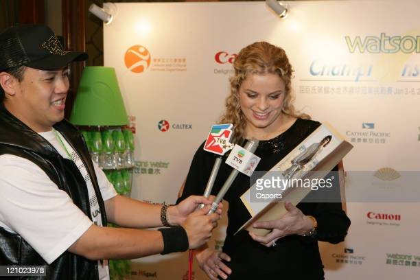 Kim Clijsters in TV interview during the Welcome Party of Watsons Water Champions Challenge in Hong Kong China on January 2 2007