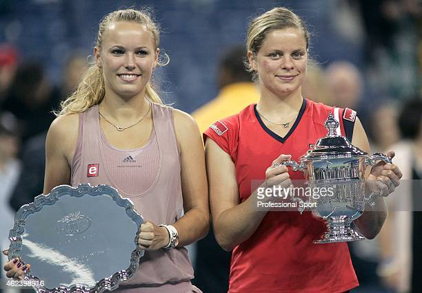 Kim Clijsters of Belgium and Caroline Wozniacki of Denmark at the trophy presentation after Clijsters defeated Wozniack at the Women's Singles final...