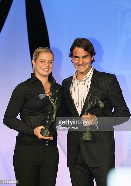 Kim Clijsters of Belgium and Roger Federer of Switzerland ITF World Womens and Mens Champions 2005 pose at the Pavillion d'Armenonville after day ten...