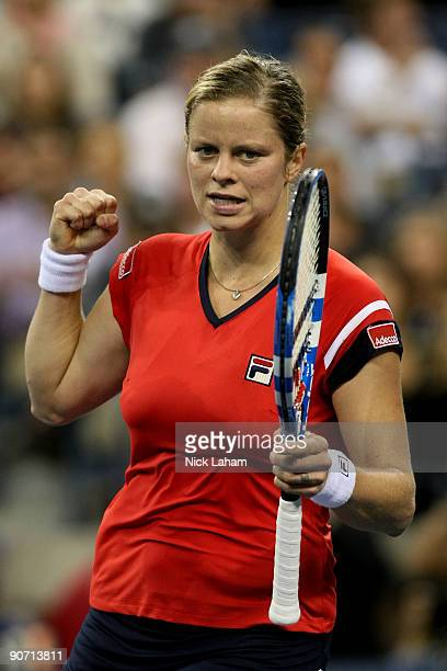 Kim Clijsters of Belgium celebrates a point during the Women�s Singles final against Caroline Wozniacki of Denmark on day fourteen of the 2009 US...