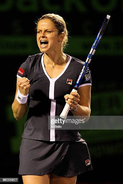 Kim Clijsters of Belgium celebrates after defeating Justine Henin of Belgium during day ten of the 2010 Sony Ericsson Open at Crandon Park Tennis...