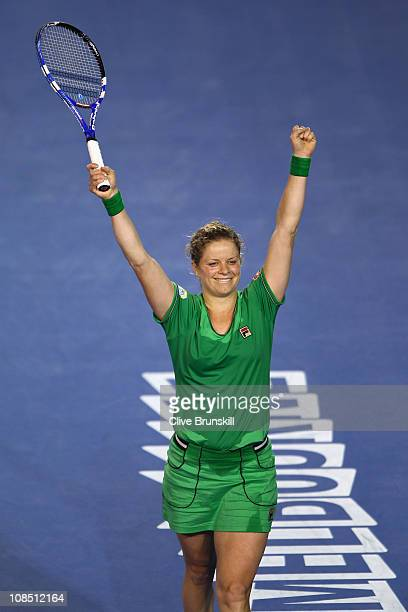 Kim Clijsters of Belgium celebrates championship point in her women's final match against Na Li of China during day thirteen of the 2011 Australian...