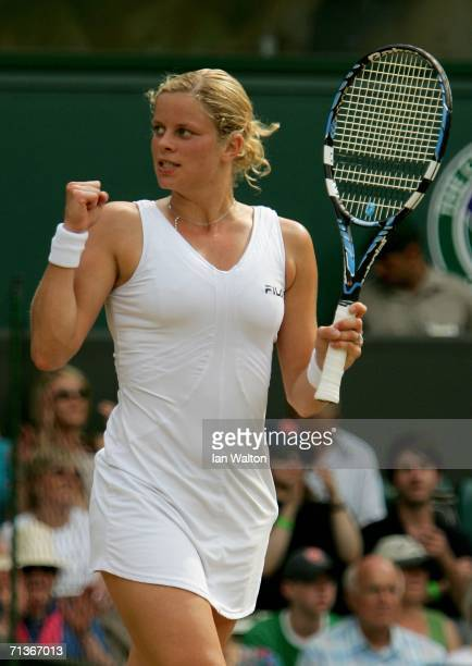 Kim Clijsters of Belgium celebrates match point over Na Li of China during day eight of the Wimbledon Lawn Tennis Championships at the All England...