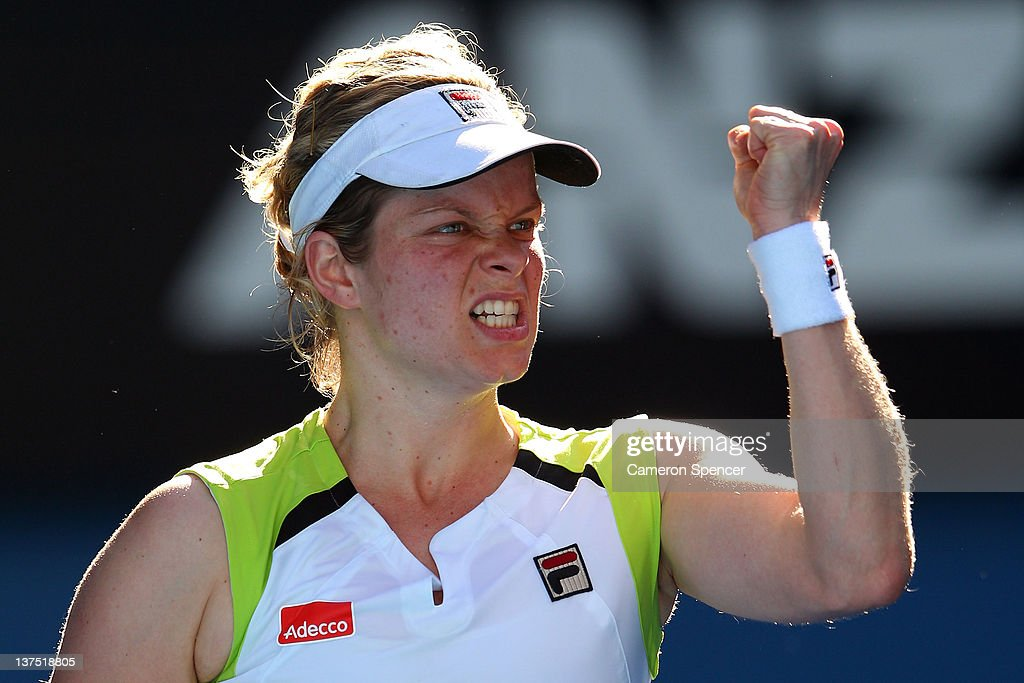 Kim Clijsters of Belgium celebrates winning a point in her fourth round match against Na Li of China during day seven of the 2012 Australian Open at Melbourne Park on January 22, 2012 in Melbourne, Australia.
