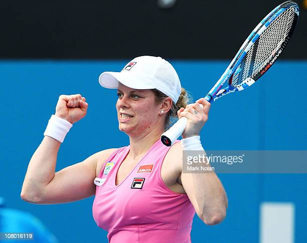 Kim Clijsters of Belgium celebrates winning her match against Alisa Kleybanova of Russia during day five of the 2011 Medibank International at Sydney...