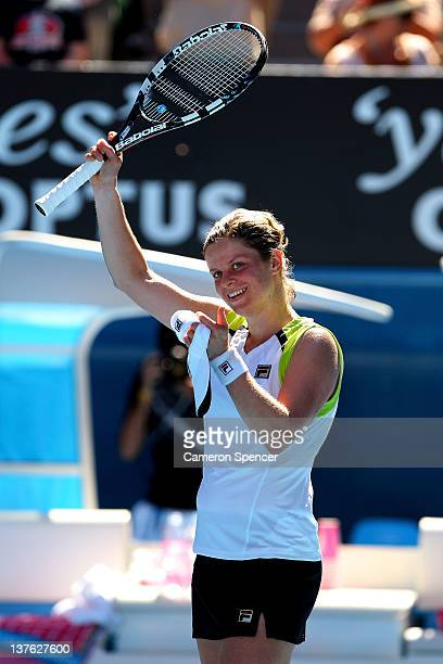 Kim Clijsters of Belgium celebrates winning her quarter final match against Caroline Wozniacki of Denmark during day nine of the 2012 Australian Open...