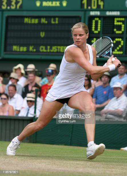 Kim Clijsters of Belgium defeating Na Li of China 64 75 in the quarterfinals of the Wimbledon Championships at the All England Lawn Tennis and...